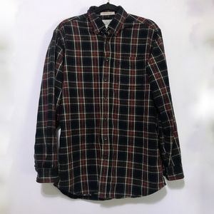 LL Bean Traditional Fit Plaid Flannel Shirt M Tall